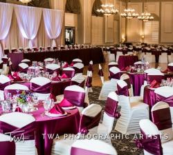 Burgundy Linens with White chair covers